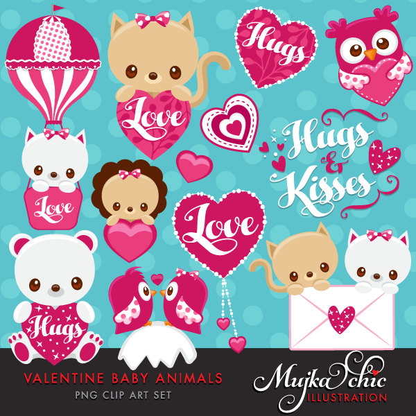 Valentine's Day Cute Baby Animals Clipart with baby owl, baby.