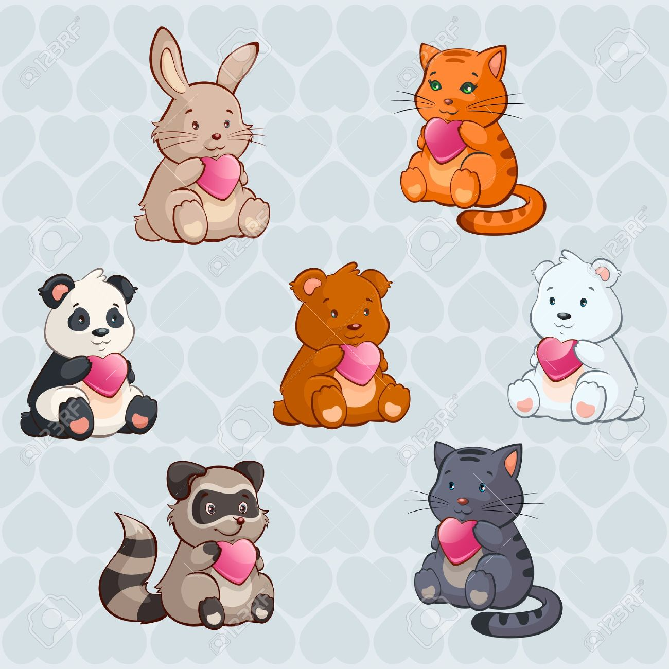 Cute Baby Animals Holding Hearts.