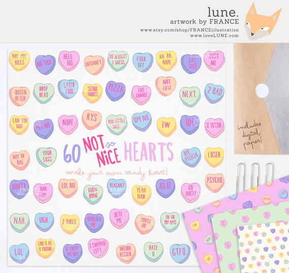 GET 3 FOR 2. Mean Valentine's Day Candy Heart Clipart. Pastel.