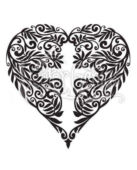 Flower Heart Cross ClipArt.