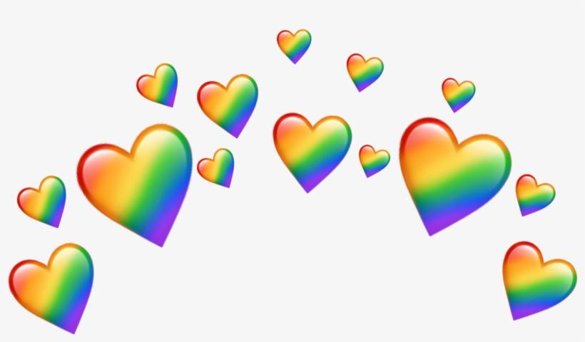 Rainbow Heart Hears Tumblr Crown Emoji Emojis Png Crown.