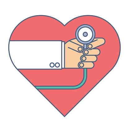 Doctor with a stethoscope exams heart pulse. Flat line.