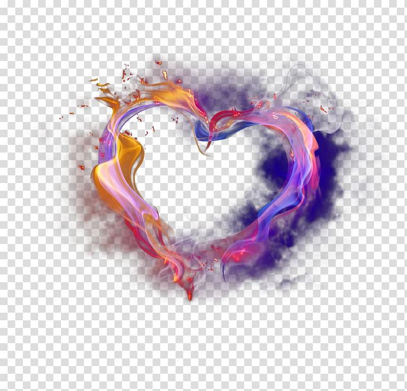Flame heart illustration, Light Euclidean , Textured color.