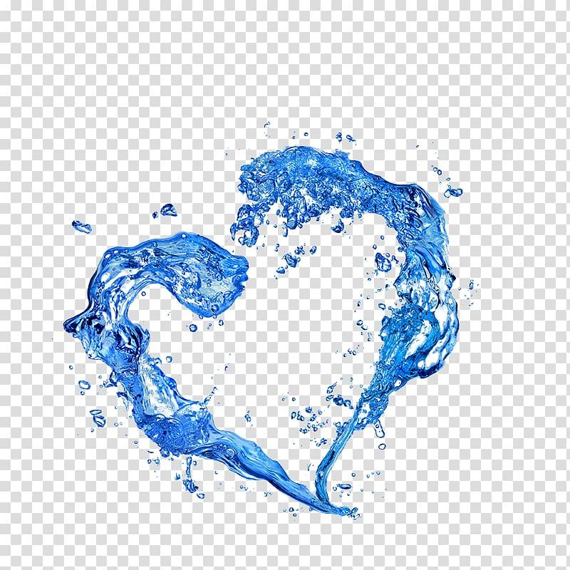 Water illustration, Water Drop Heart Hand Rain, Effect of.