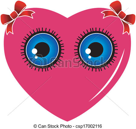Vector Clip Art of A heart with blue eyes and red bow csp17002116.