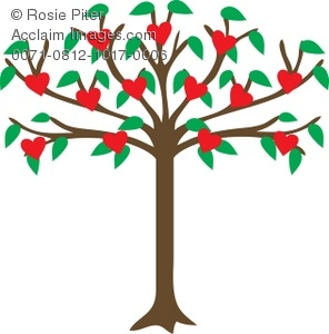 Family Tree With Hearts Clipart.