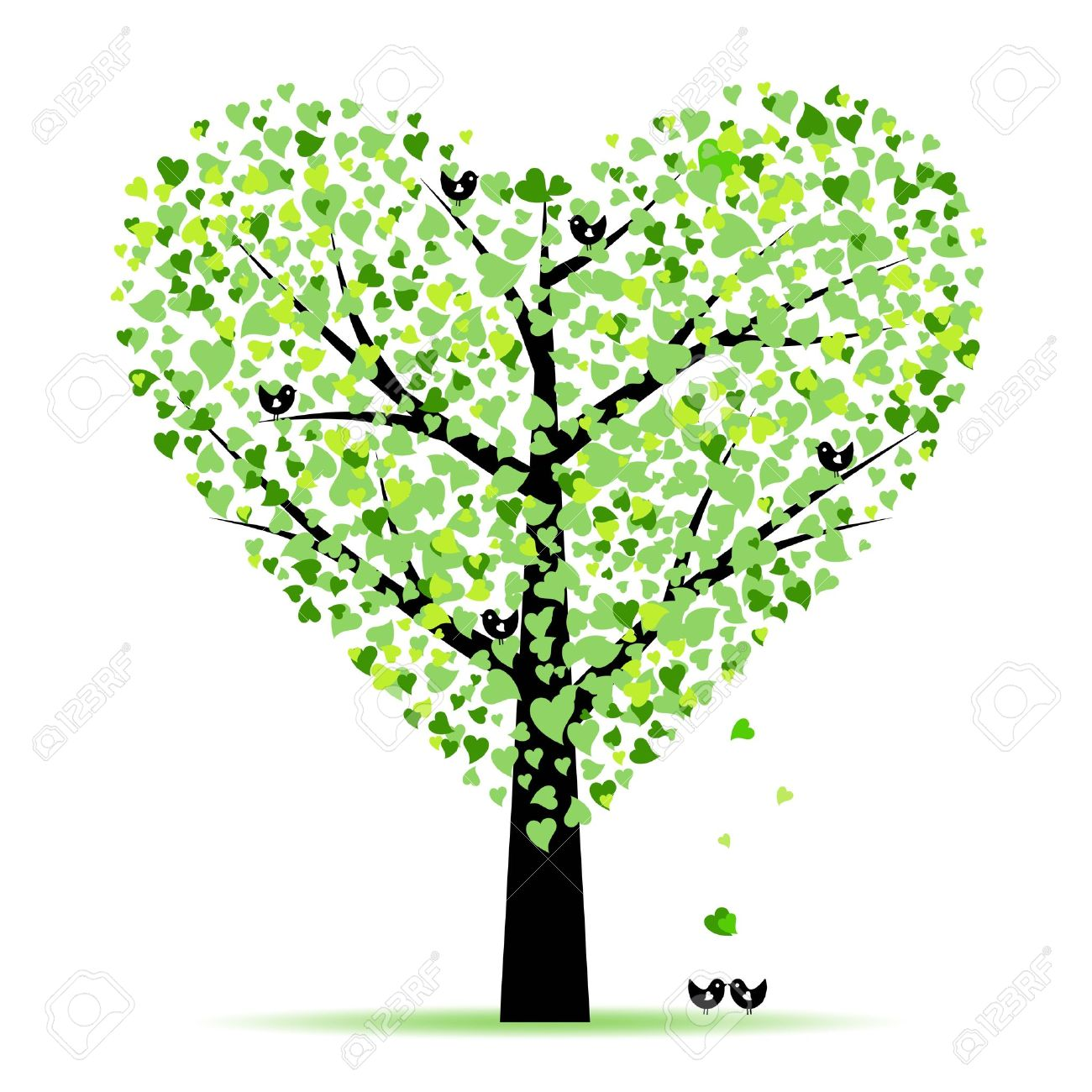 Tree With Hearts Clipart.