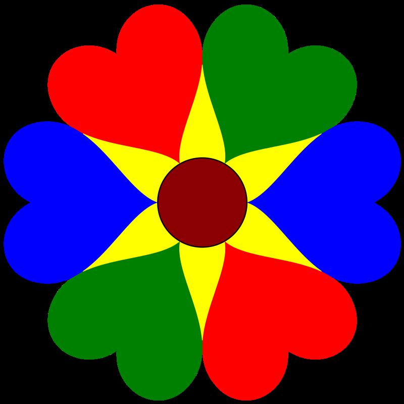 Free Clipart: Six Heart Flower.