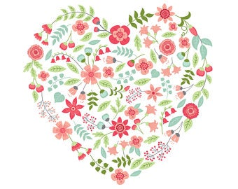 Floral heart clipart.