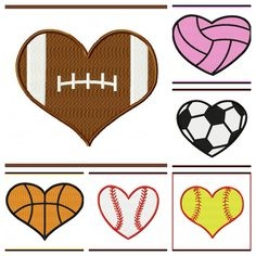 Football Heart Clipart Vector.