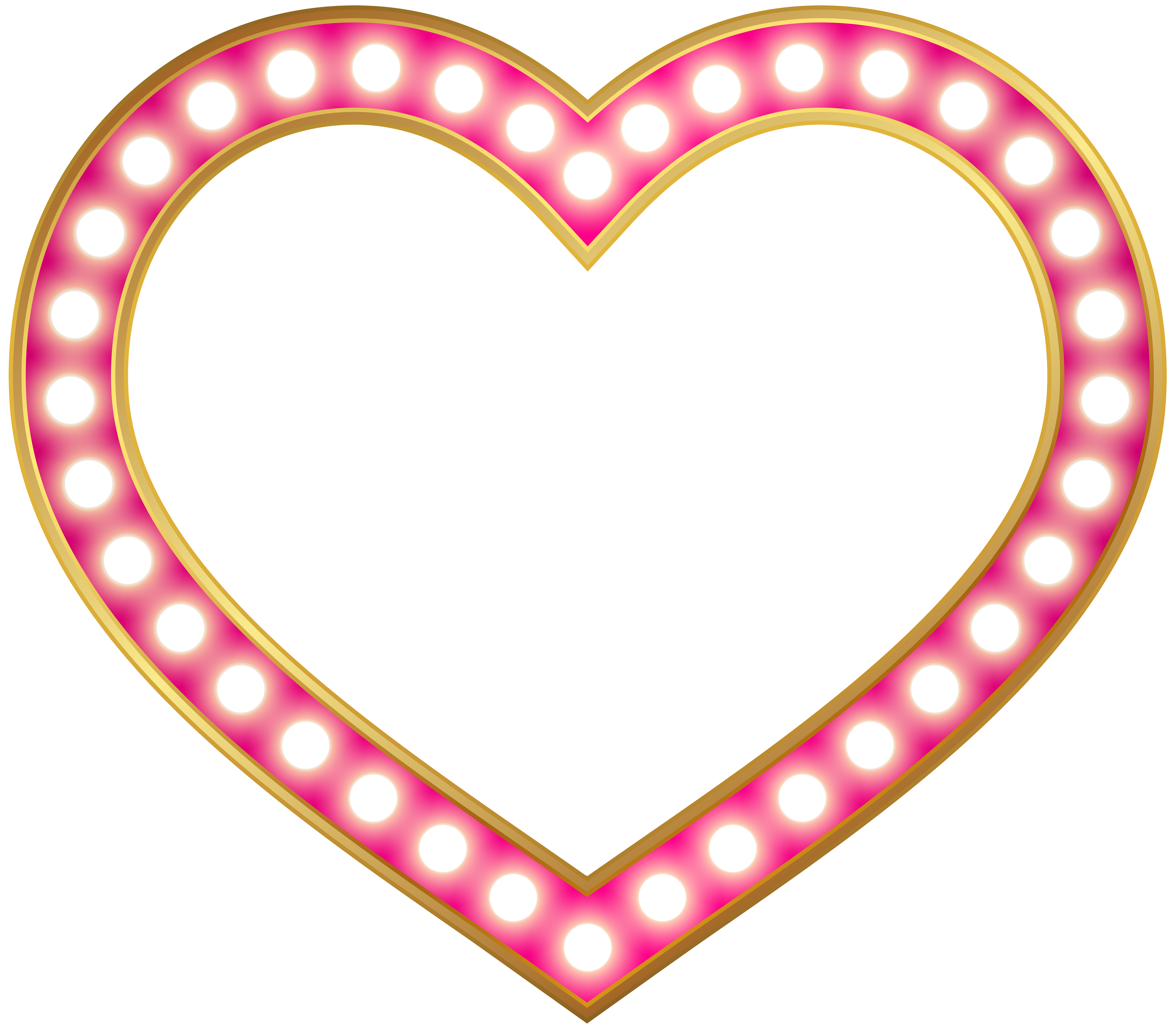 Glowing Heart Border Frame PNG Clip Art.
