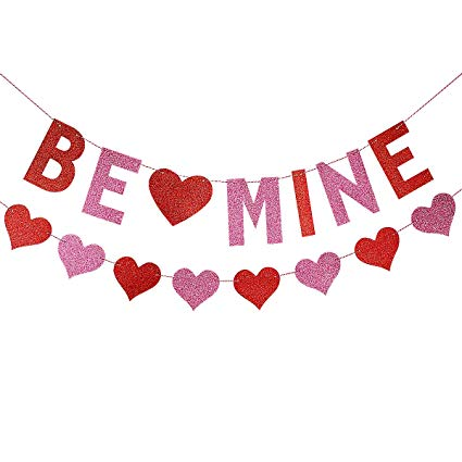 LeeSky Glittery Be Mine Banner with Heart Garland,Valentine\'s Day Party  Wedding Party Home Decoration Supplies.