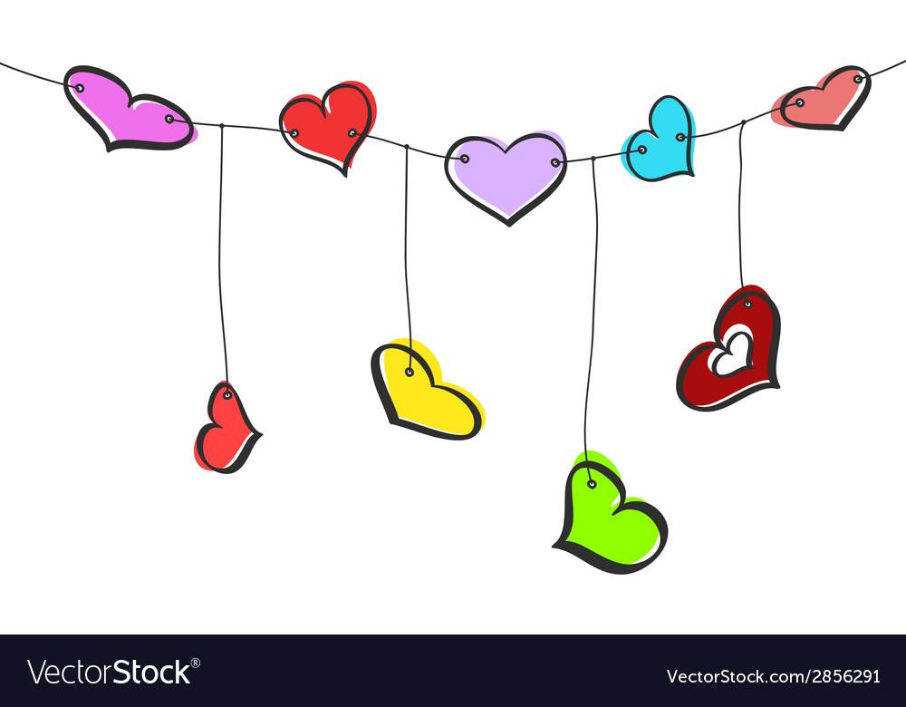 Sketch hearts garland.