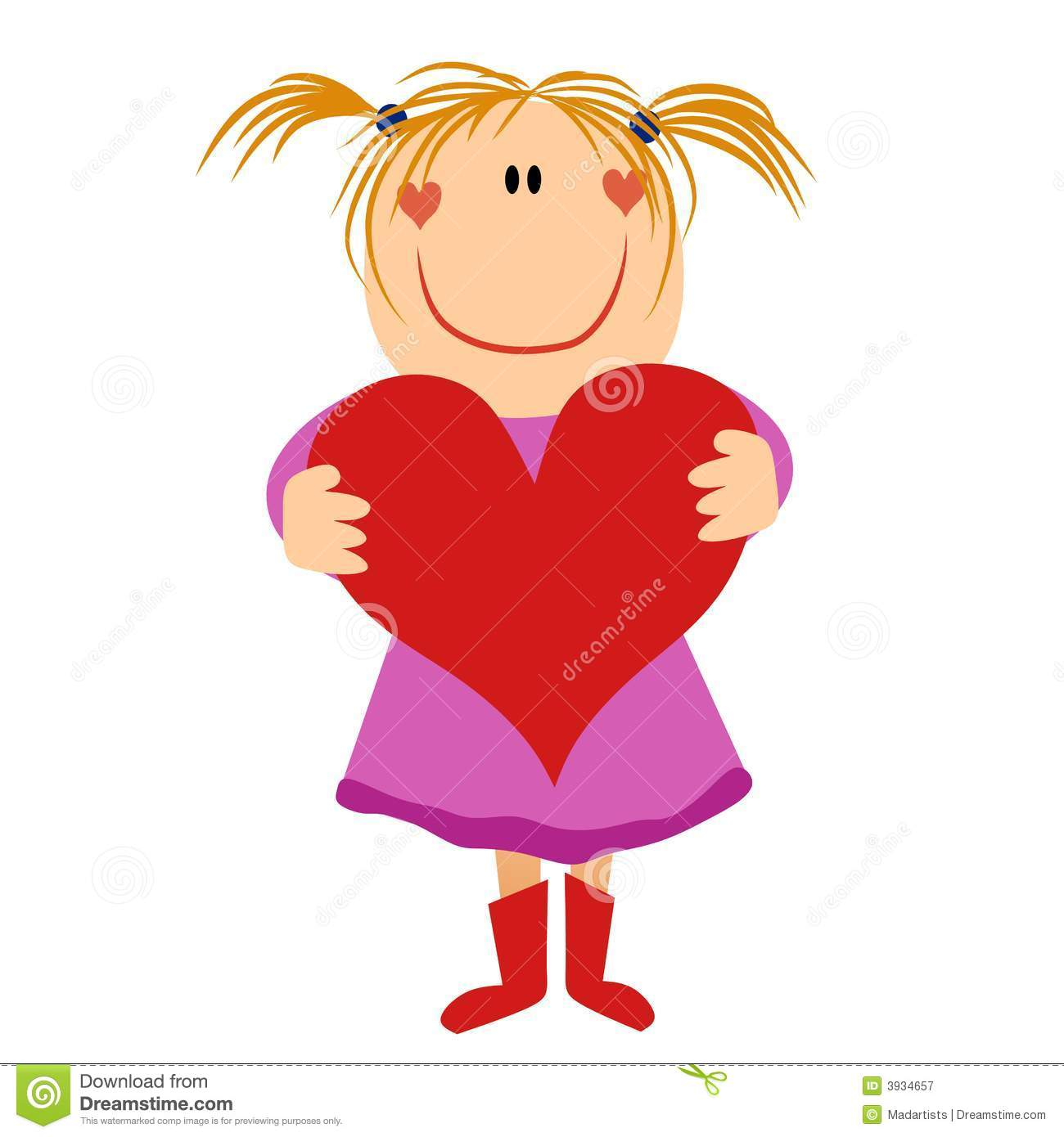 Cartoonish Little Girl Holding Valentine Heart Royalty Free Stock.