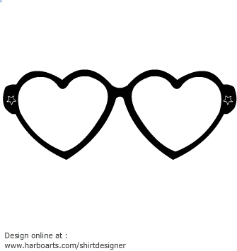 Heart shaped glasses clipart.