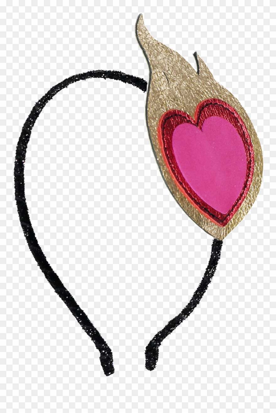 Headband Flaming Heart Black.