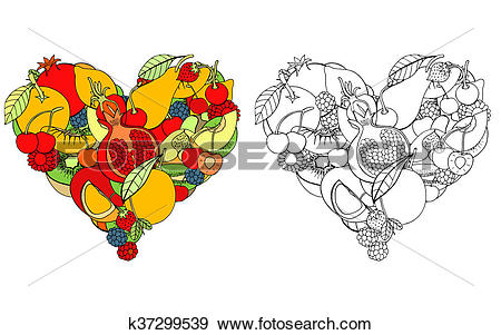 Stock Illustration of Heart from healthy fruit and berry k37299539.
