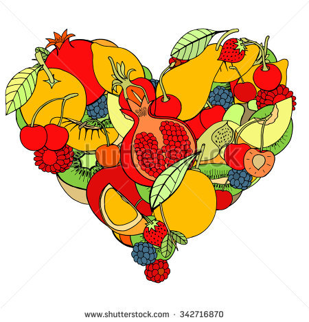 Heart Healthy Fruit Berry Eco Background Stock Illustration.
