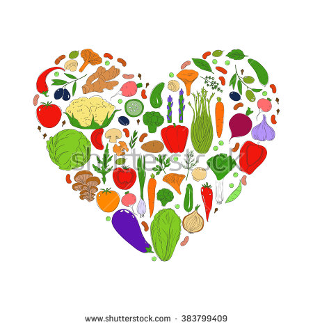 Heart Healthy Food Green Eco Background Stock Vector 296569562.