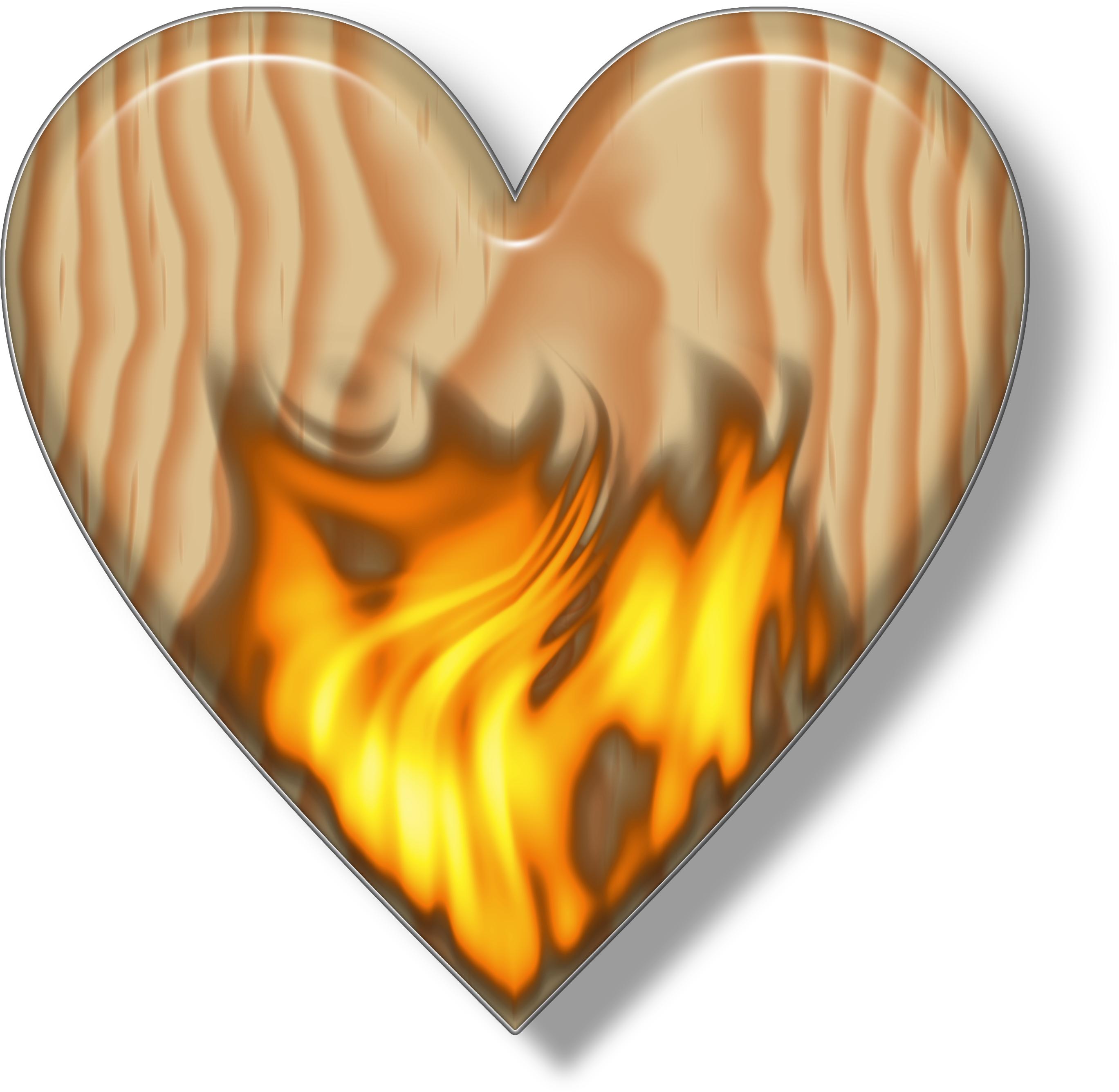 Flaming Wooden Heart.