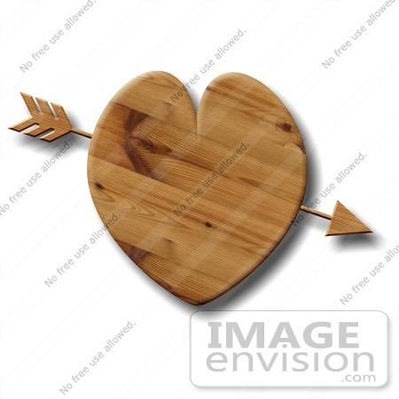 Arrow Through a Wooden Heart Clipart.