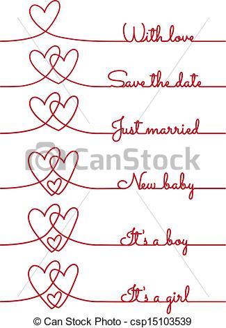Heart Line Drawings, Vector.