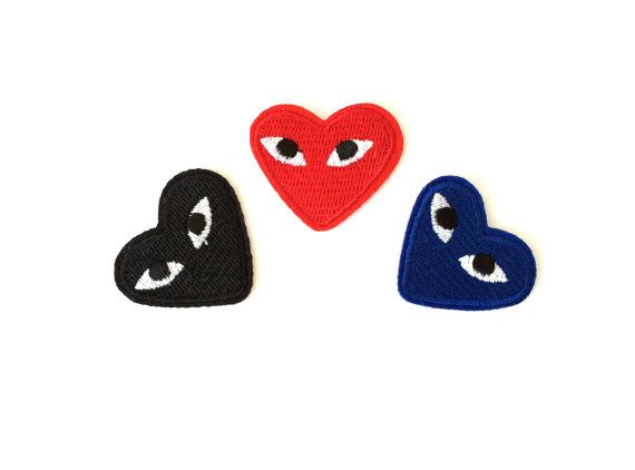 Heart with eyes, comme des garcon logo, iron on patch.