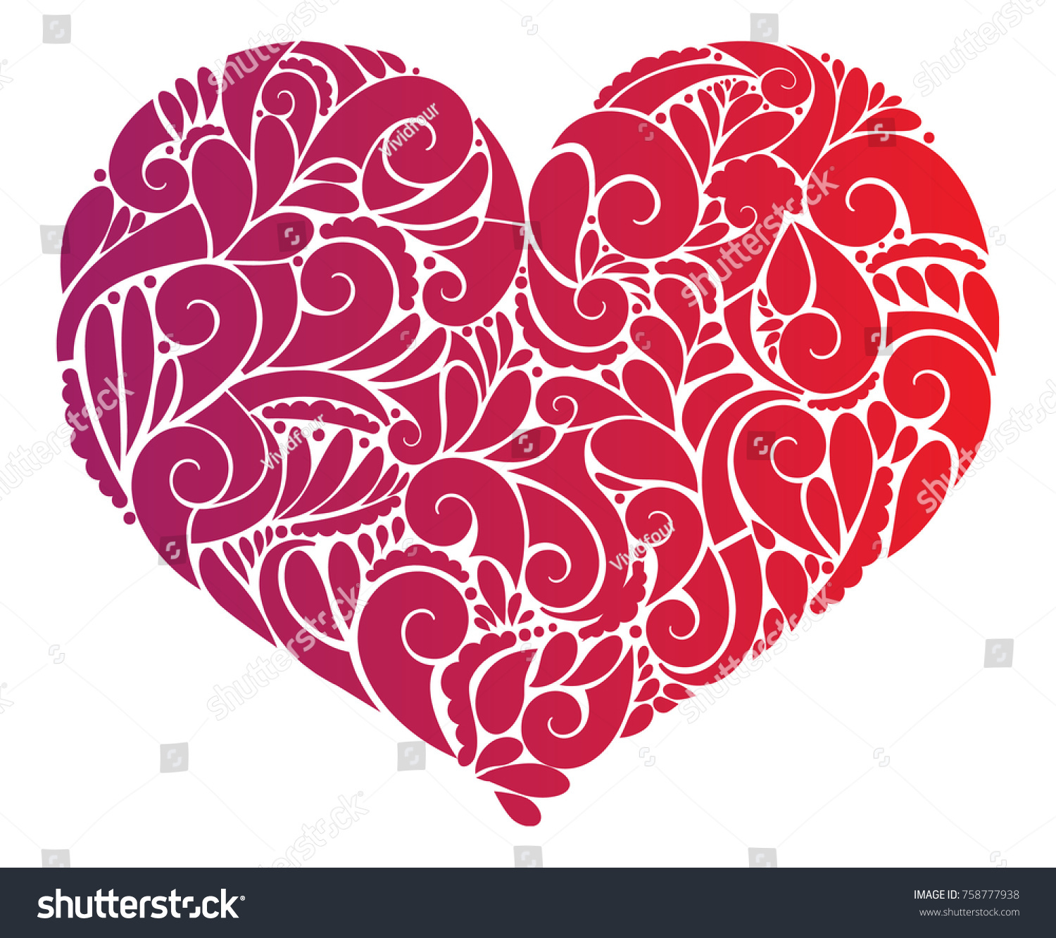 Red Floral Heart Clipart Motif Vector Stock Vector (Royalty Free.