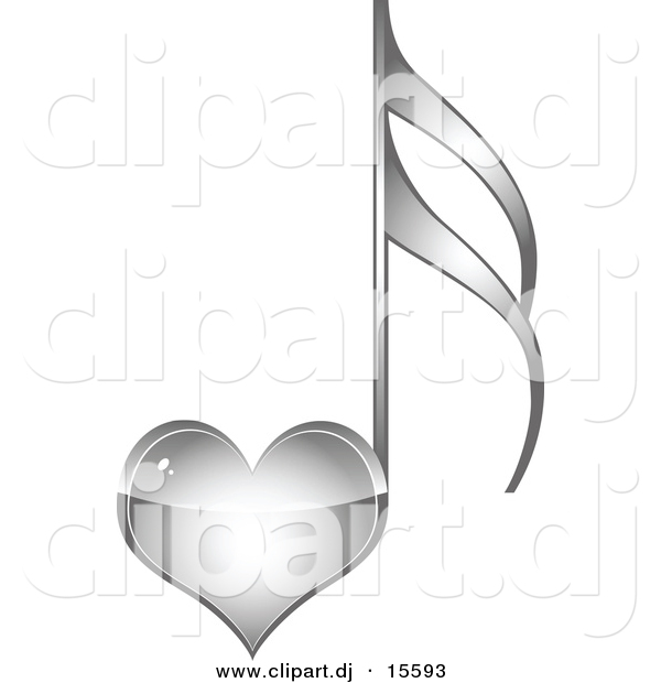 Vector Clipart of a Silver Love Heart Music Note by Andrei.