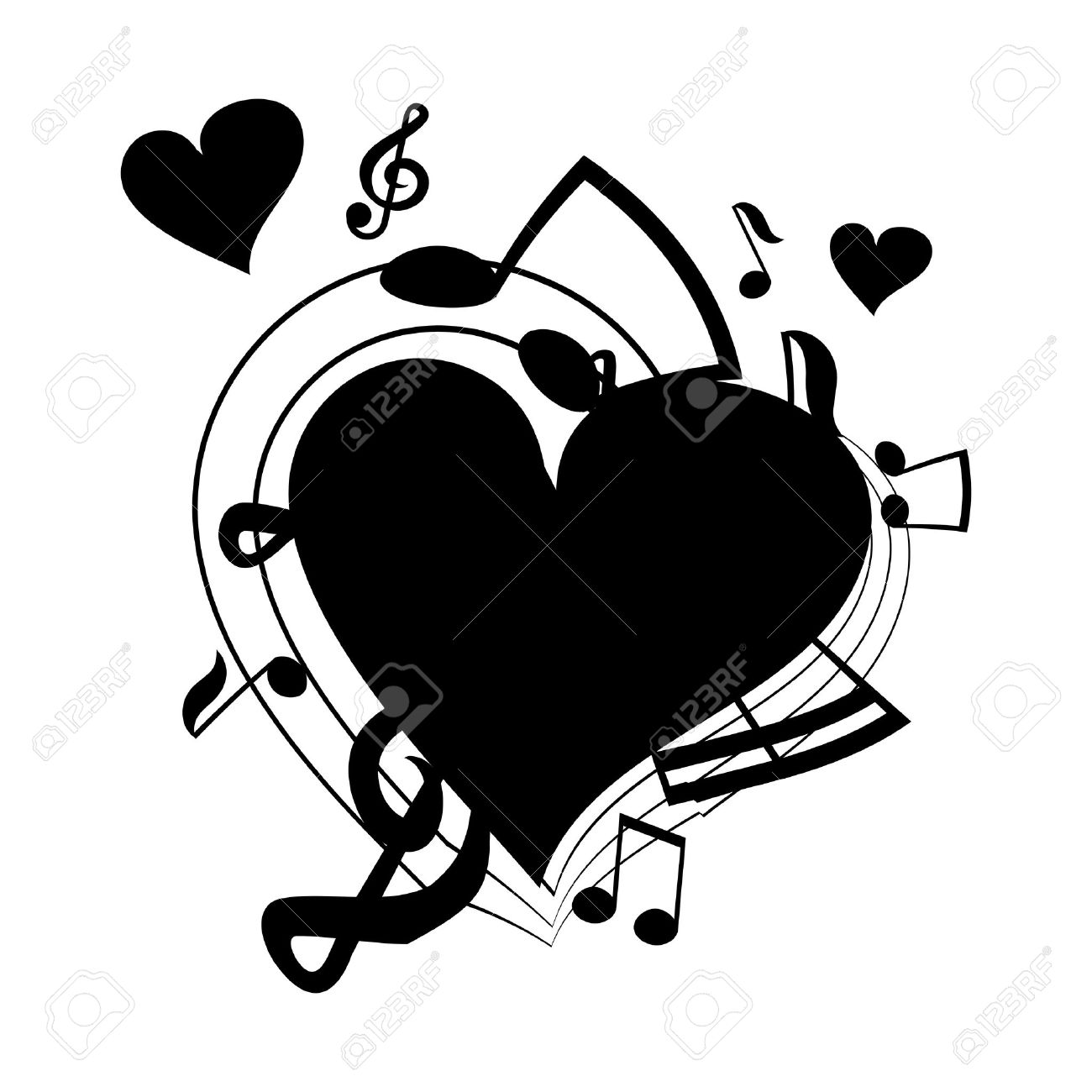 Vector Illustration Of Heart, Musical Notes Royalty Free Cliparts.