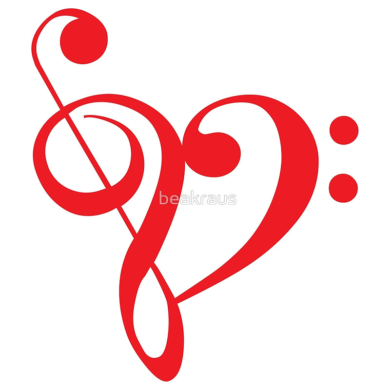 I love music, red heart with music notes
