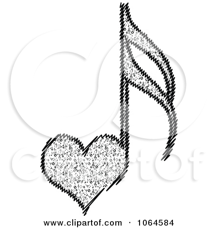 Small Heart Music Notes Clipart.