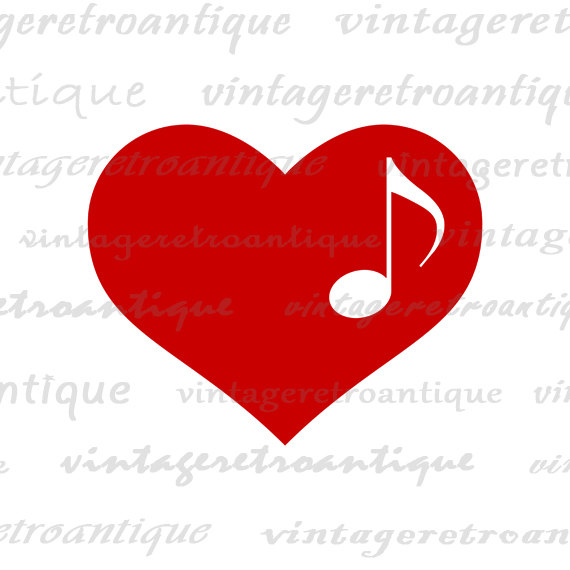 Heart Music Note Clip Art.