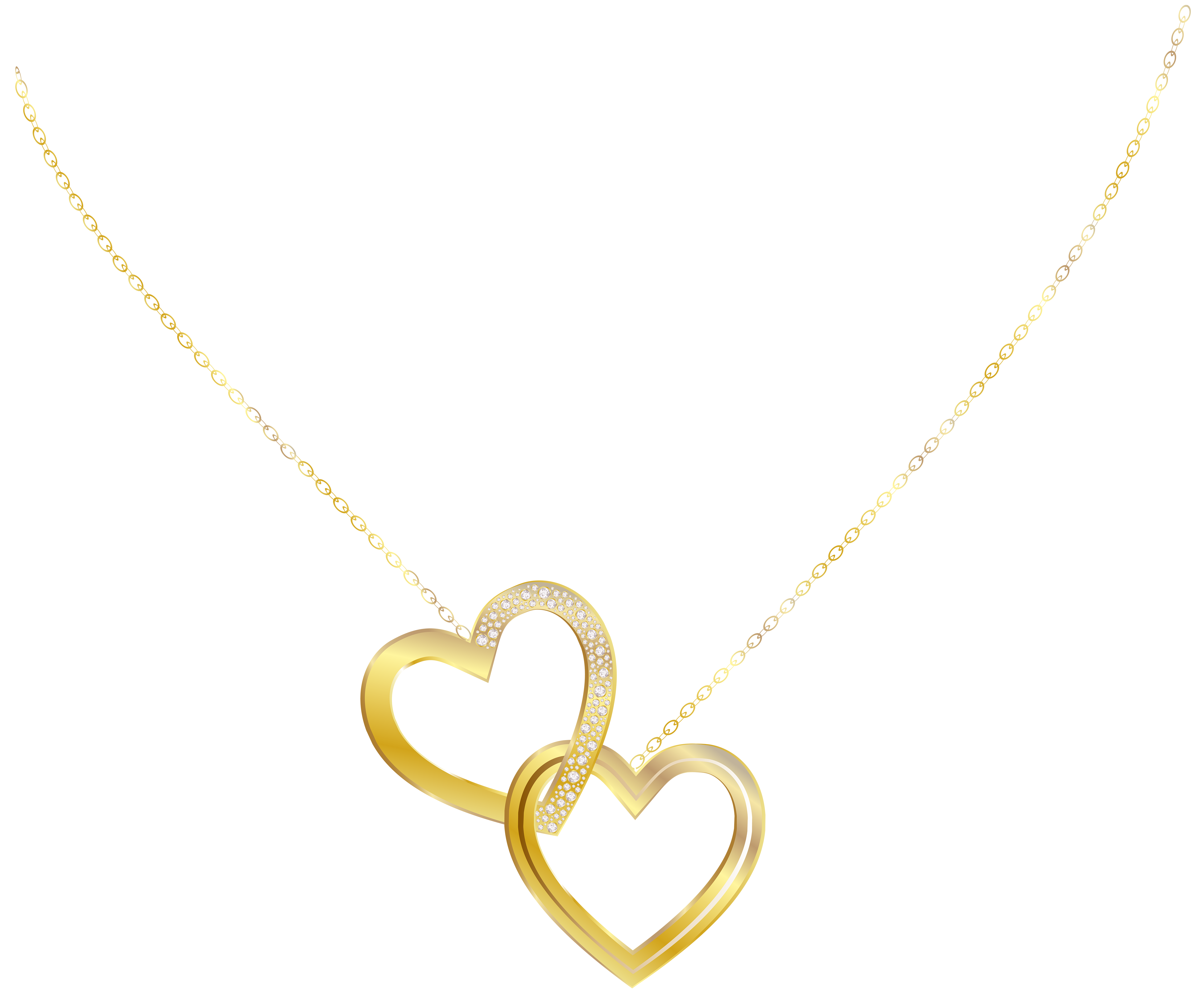 Gold Heart Necklace PNG Clip Art Image.