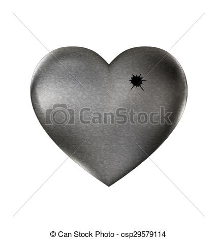 Vector Clip Art of shot in the stone heart.