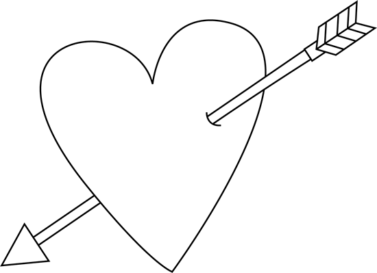 Black and White Valentine's Day Heart and Arrow Clip Art.