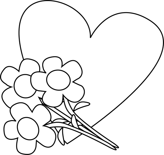 Black and White Valentine's Day Heart and Flowers Clip Art.
