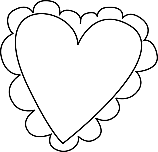 Black and White Valentine's Day Heart Clip Art.