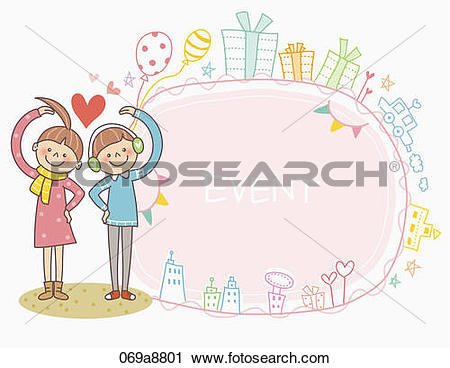 Clipart of The boy and girl making heart over their head with.