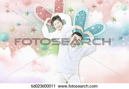 Clipart of The old couple making the heart over their heads.