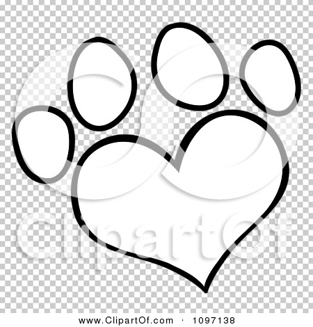 Clipart Outlined Heart Shaped Dog Paw Print.