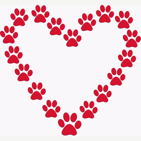Paw Print Heart Stencil Dog Lover or Cat Lover.