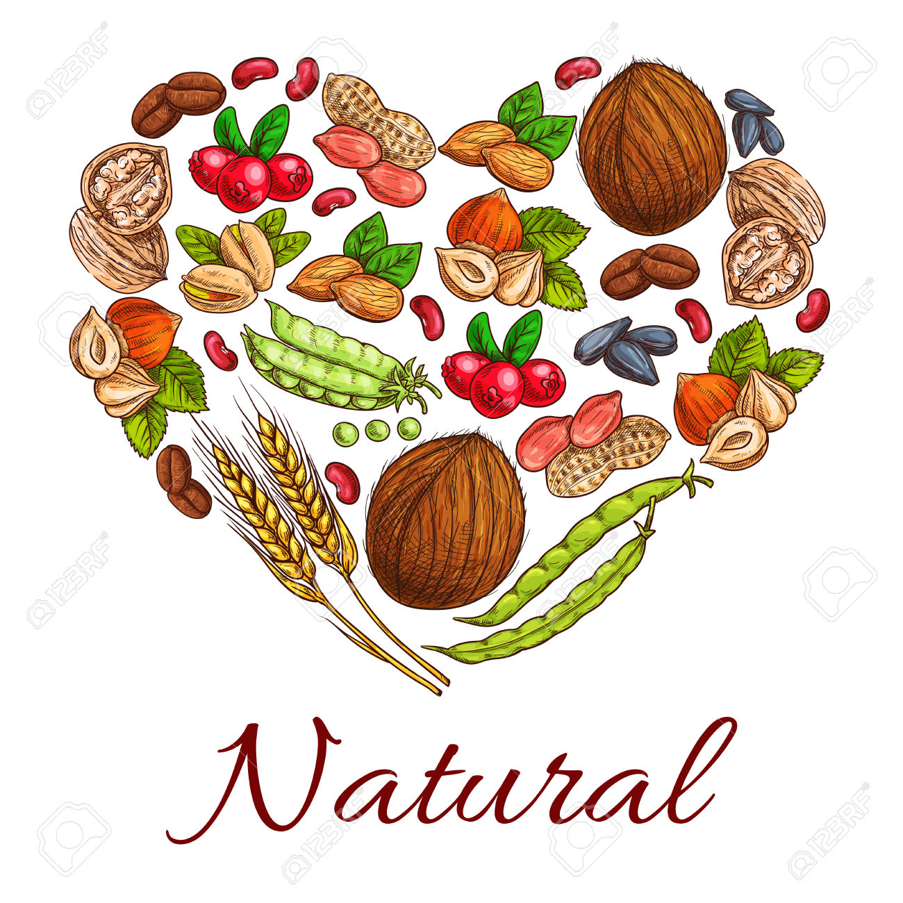 Healthy Nuts, Grain, Berries Icons In Heart Shape. Vegetarian.