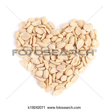 Stock Photography of Processed pea nuts heart shape. k19242071.