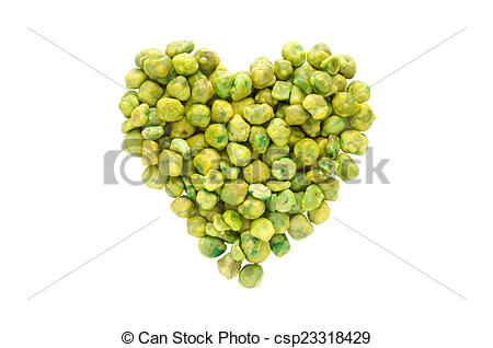 Stock Photo of Love green ,heart shape from dry green pea isolated.