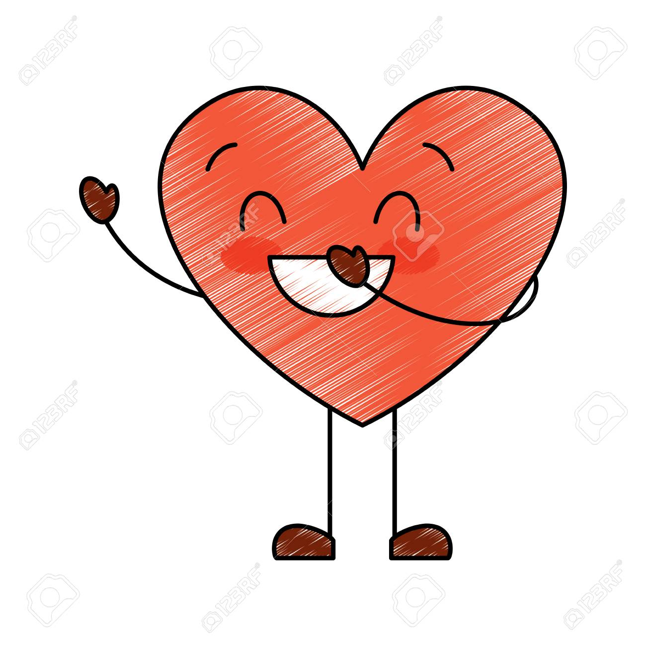 cute cartoon heart love smiling emotion character vector illustration...