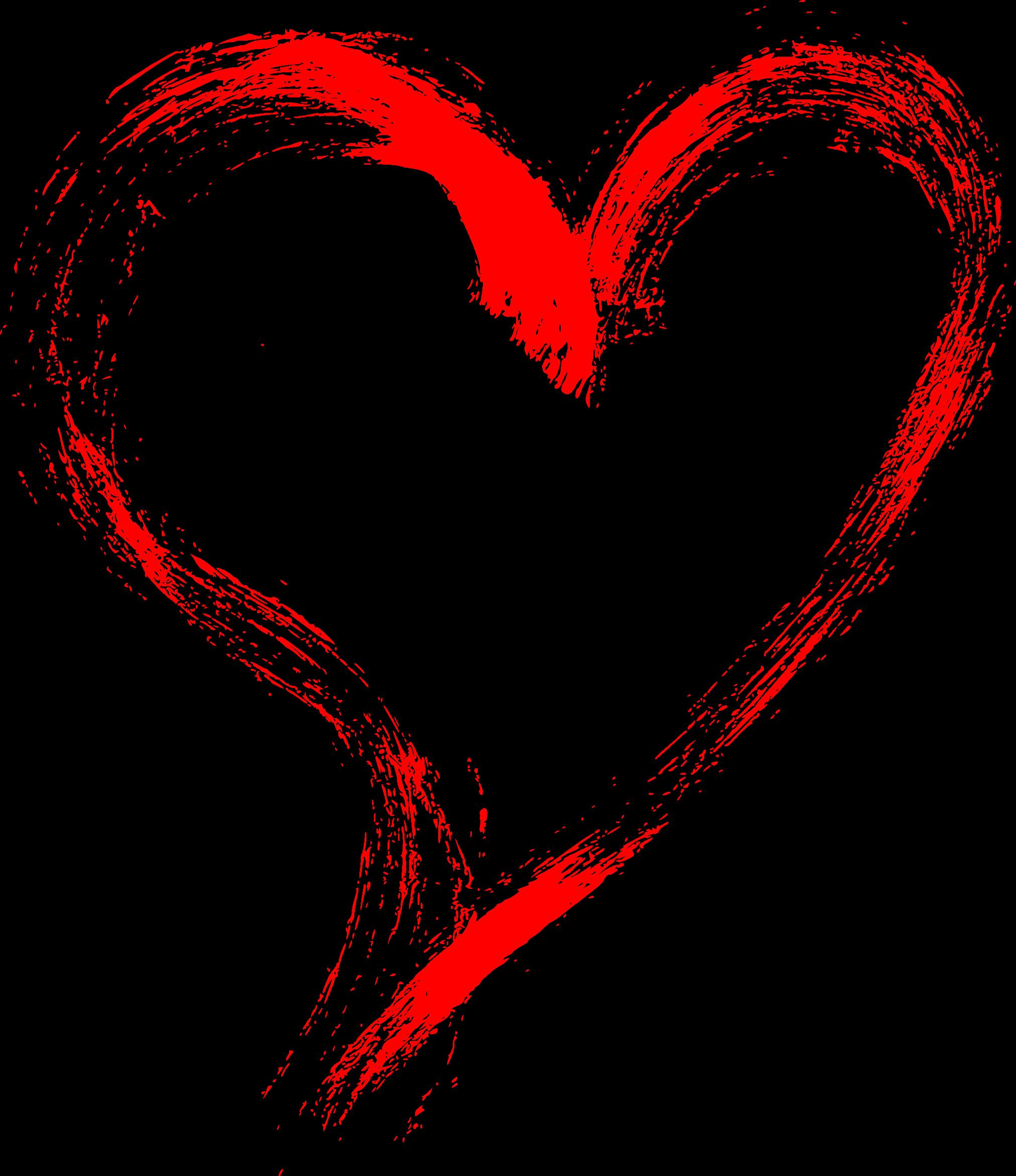 10 Red Grunge Brush Stroke Heart (PNG Transparent).