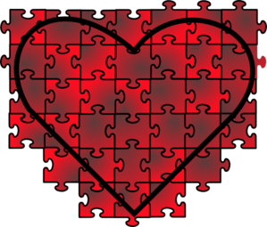 Heart Puzzle With Red Black Gradient Clip Art at Clker.com.