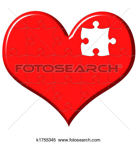 Stock Illustration of 3d heart puzzle with missing piece k1755345.