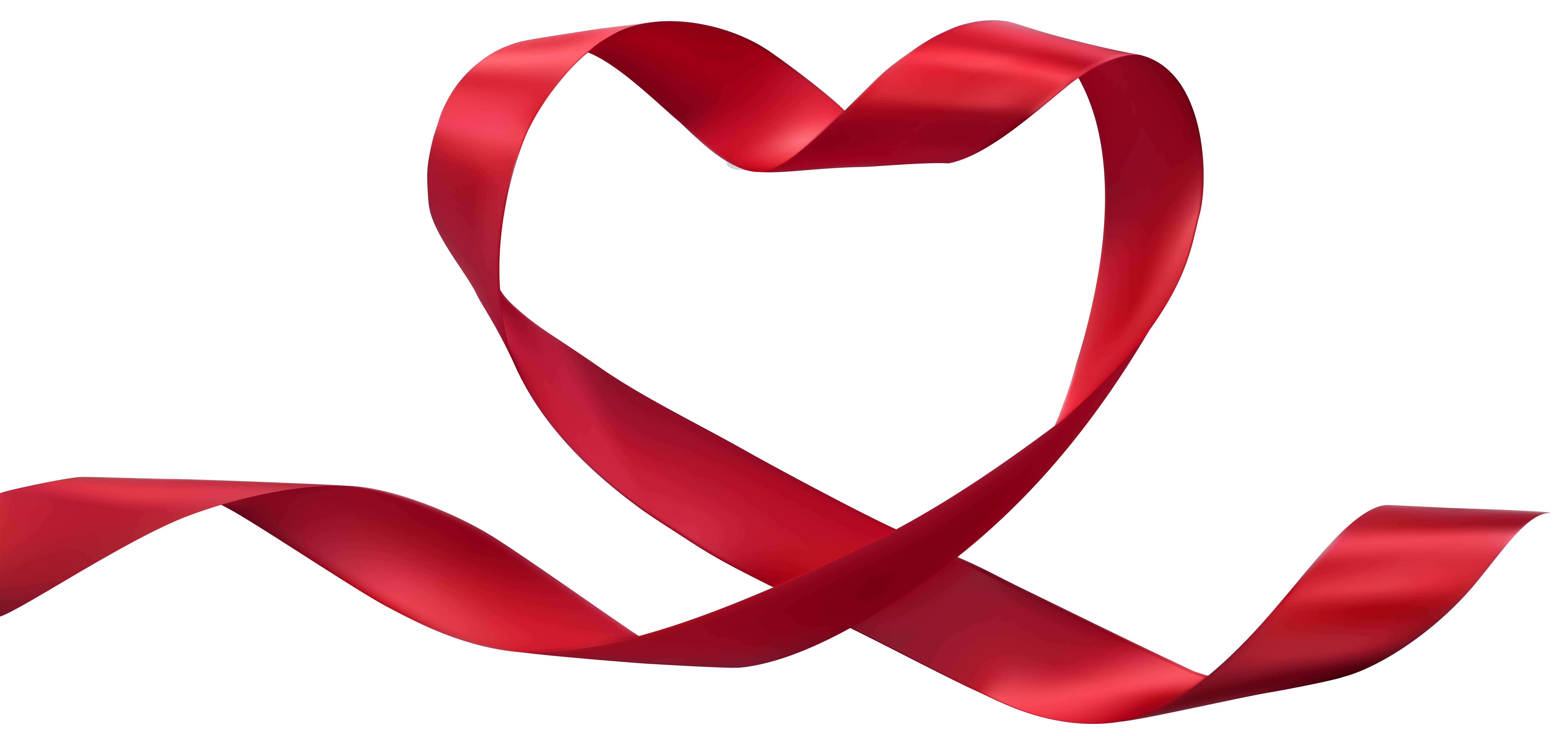 Heart Ribbon Transparent PNG Clip Art Image.